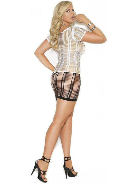 black and white strappy net dress....regular size
