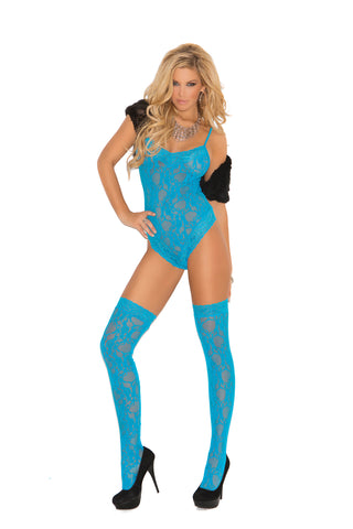Turquoise lace teddy and stocking set