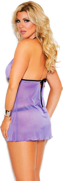 Strappy lavender and black babydoll set..queen sizes.