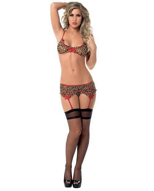 Animal bra set with hosiery