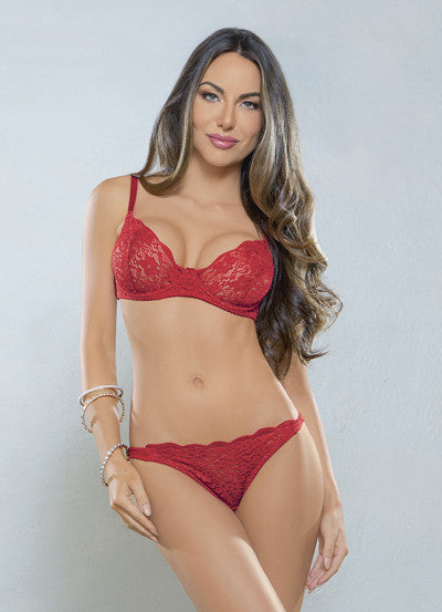 red lace bra set