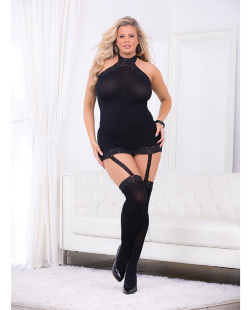 Halter garter dress with hose...queen size