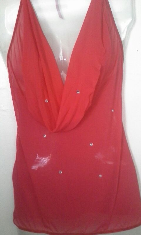 Red mesh cowl neck club dress with rhinestones