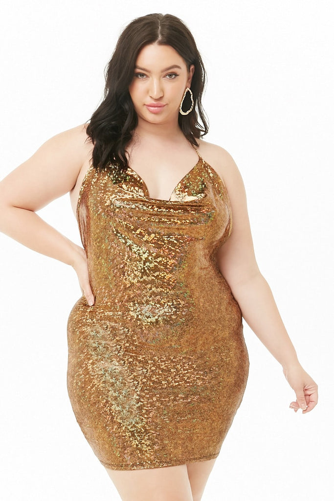 Gold lame halter dress