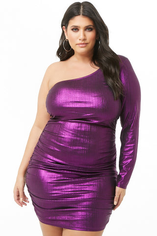 Purple one sleeve dress