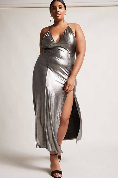 V Neck Metallic Long Dress....queen sizes
