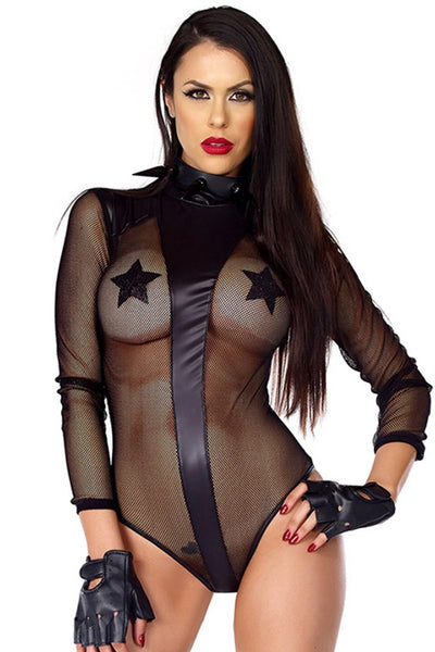 fetish fishnet and faux leather teddy