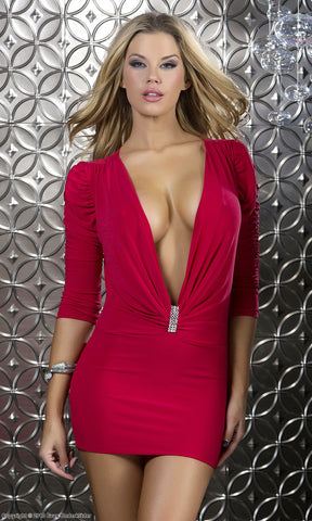 Sexy Low cut red dress with rhinestone embellishment