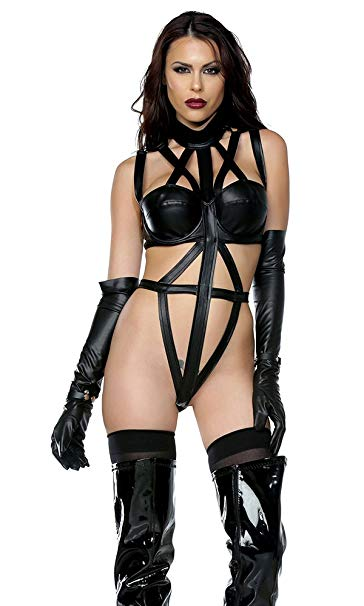 Faux leather strappy fetish bodysuit