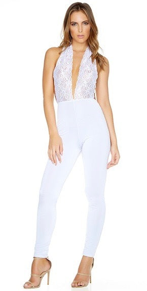 white jumpsuit with lace top