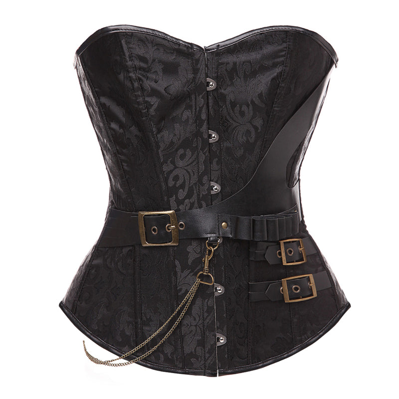 Retro buckled and chain corset