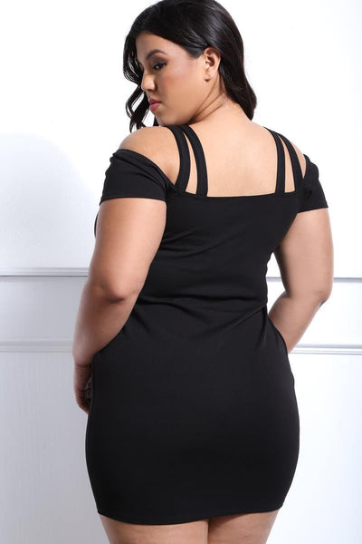 Black cold shoulder club dress with neck embellishment...plus sizes