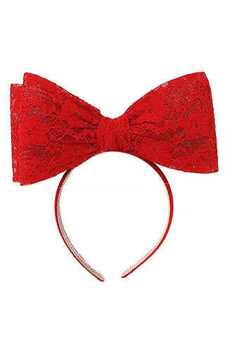 Oversize bow headband...red