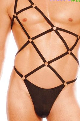 Mens strappy harness bodysuit