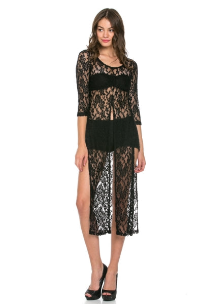 long lace paneled dress