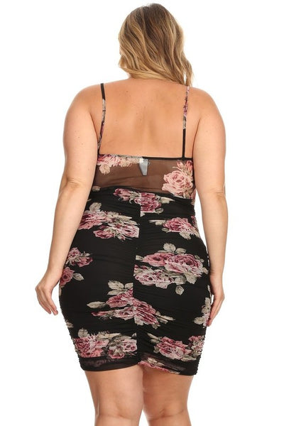 Ruched floral mesh dress...queen sizes