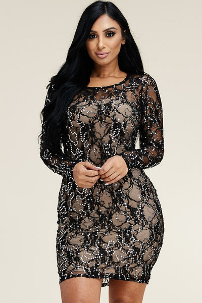 Embellished lace mesh dress..regular sizes