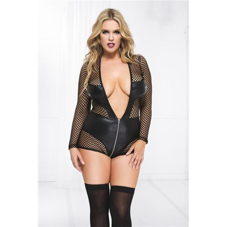 faux leather wet look with net bodysuit teddy...queen sizes