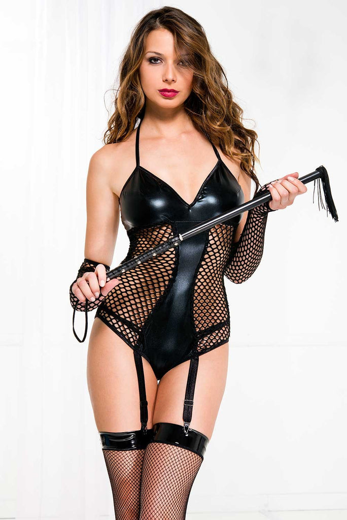 Faux leather wet look and fishnet teddy with gloves set