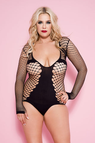 black net and opaque long sleeve body suit teddy....queen size