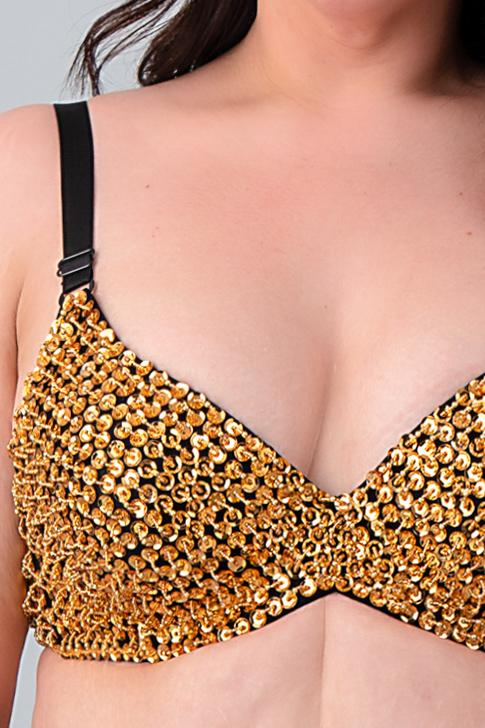 plus size sequin bra....gold