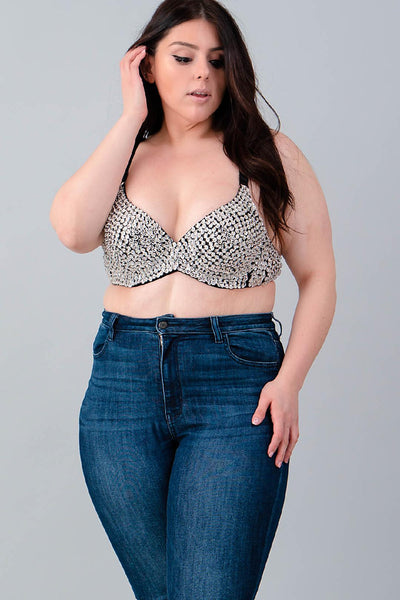 plus size sequin bra..silver
