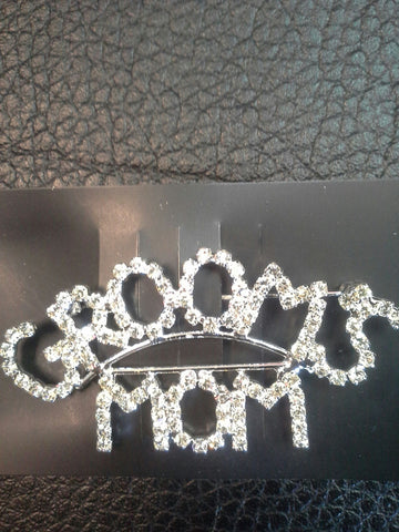 "Rhinestone ""Grooms Mom"" Pin"