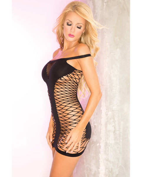 Seamless net and panel dress...black