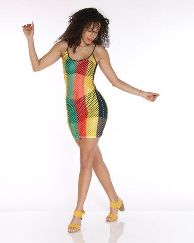 Rasta print net dress...regular sizes
