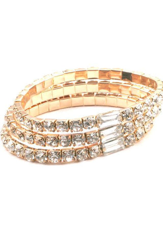 3 Row Rhinestone Bracelet (2 colors)