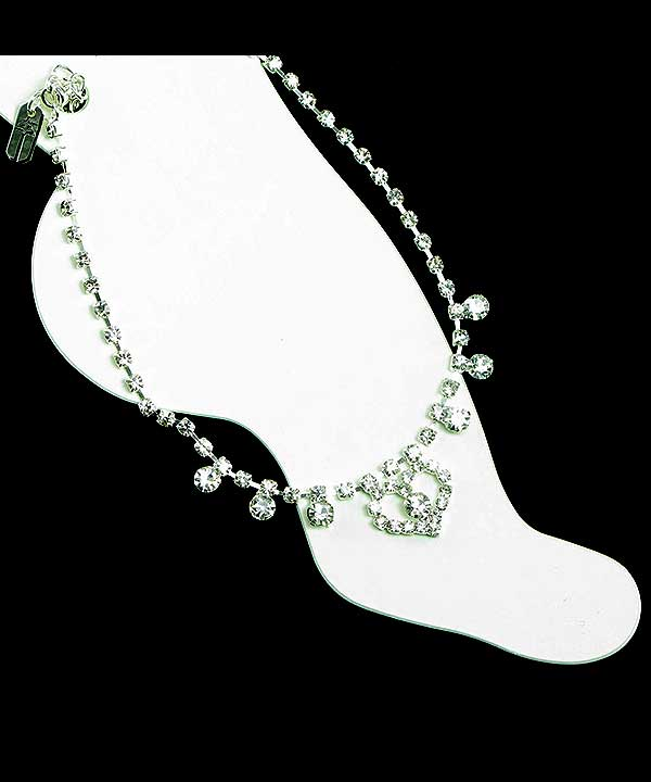 Rhinestone anklet with heart