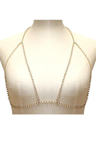 Rhinestone body chain bra