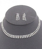 Rhinestone 3 row choker and earring set