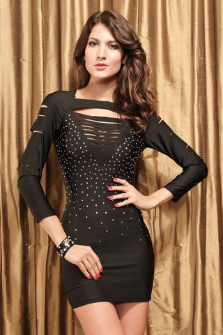 Slash dress with rhinestones
