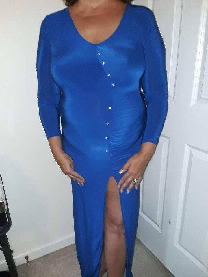 Long royal blue maxi dress..queen sizes