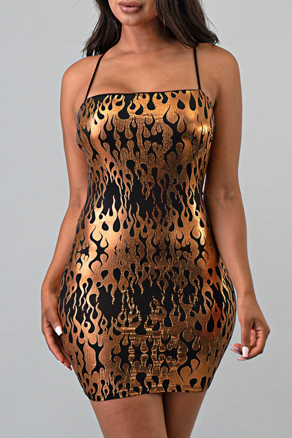 Metallic flame print dress
