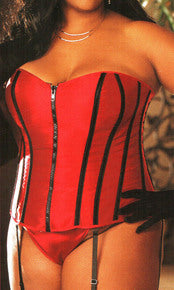 red with black zippered corset