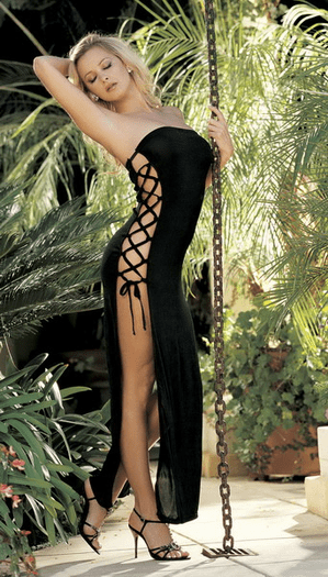 Poly spandex side lace up maxi dress