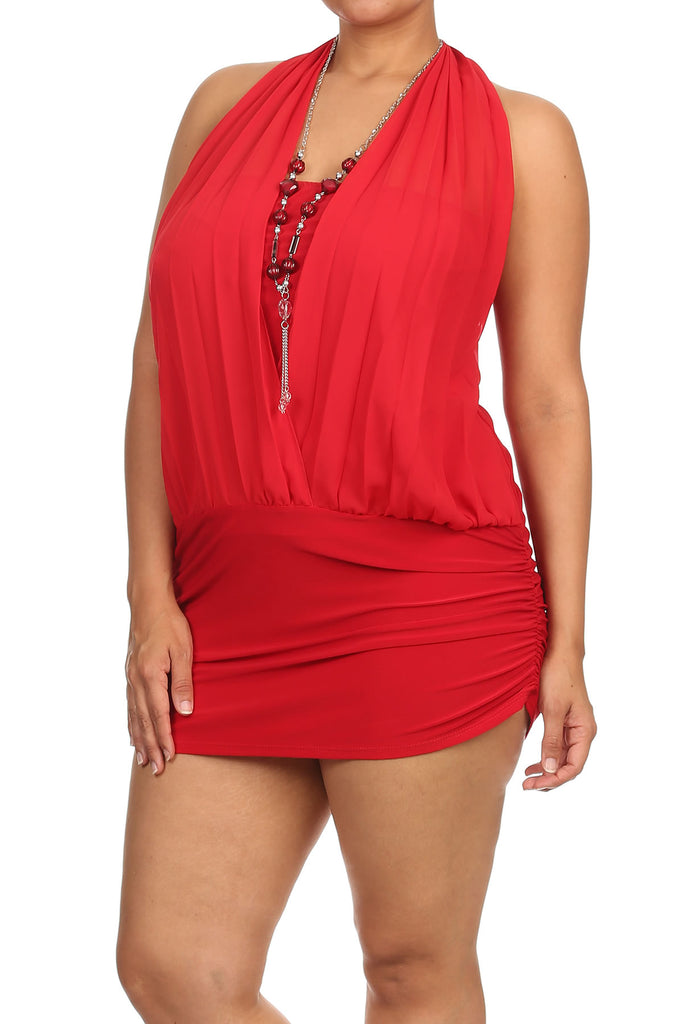 Red clubwear dress with necklace.. queen size