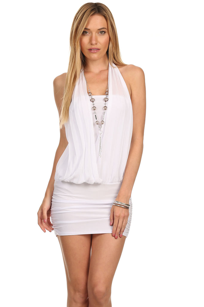 White clubwear dress with necklace