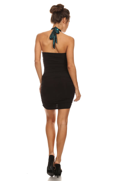 Halter dress with lace.....turquoise/black