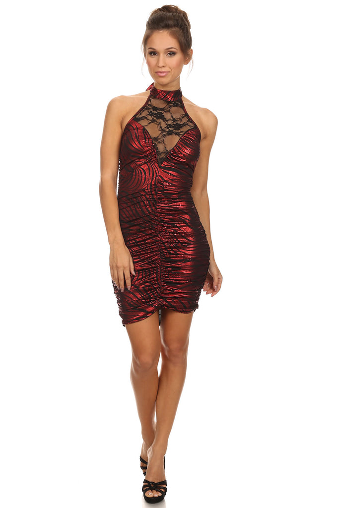 Halter dress with lace.....red/black