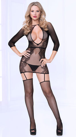 fishnet and floral lace garter dress with stockings.