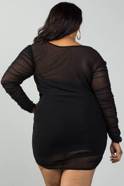 Mesh ruched dress