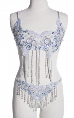 Beaded dancer teddy...blue and silver