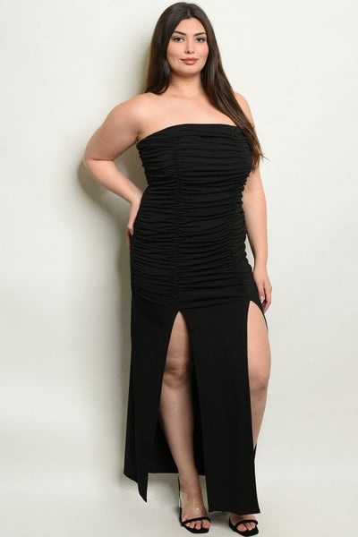 Ruched maxi tube dress...Plus sizes
