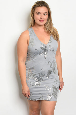 Silver grey with silver sequins sexy dress in queen sizes