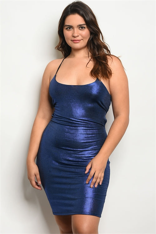 Blue metallic clubwear dress....queen sizes.