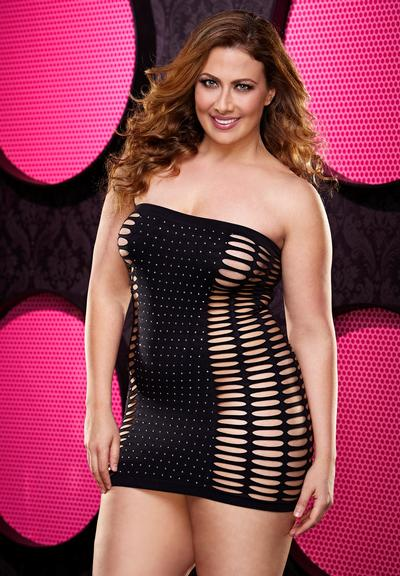 Cut out tube dress with rhinestones,,,queen size