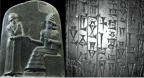 Hammurabi receiving his royal insignia (left) and his code (right)